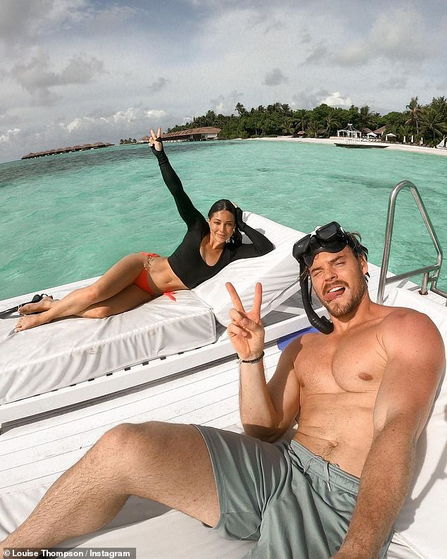 Chilling:The former Made In Chelsea star and her fitness trainer beau, both 30, appeared in high spirits as they enjoyed a snorkelling session before relaxing on a pontoon
