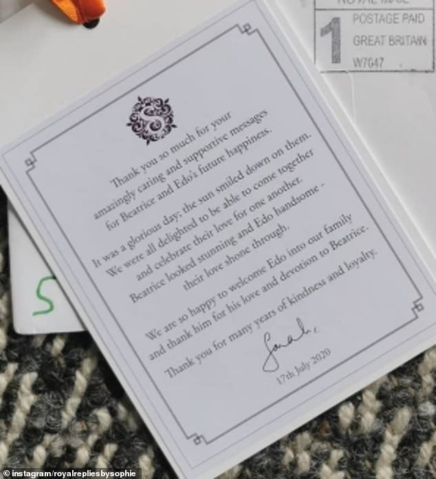 The photograph was sent by Sarah Ferguson to followers who had shared their best wishes to the newlyweds after their wedding alongside a thankyou note