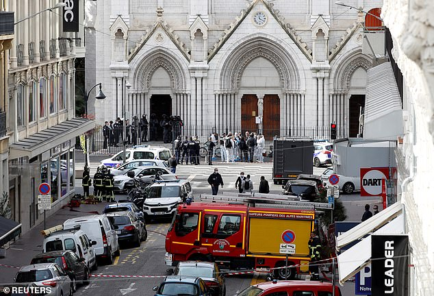 Security forces guard the area after a reported knife attack at Notre Dame church in Nice, France, last Thursday