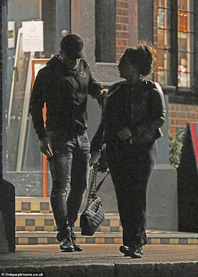 Date night:Lauren Goodger and her boyfriend Charles Drury looked as loved-up as ever on Monday evening as they headed for a romantic date night at Zizzi in Essex