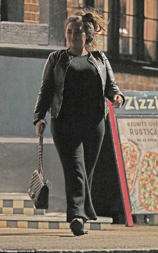 Out and about:The former TOWIE star, 34, went for a low-key black ensemble with a messy up do as she stepped out with Katie Price 's ex, 23, who was also clad in a dark ensemble for the meal, which she documented on social media