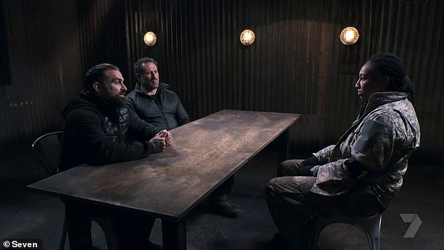 Explaining herself: She's one of SAS Australia's top recruits, but Sabrina Frederick was pulled into an interrogation on Tuesday after disappointing the show's DS (directing staff) with her performance in an escape room