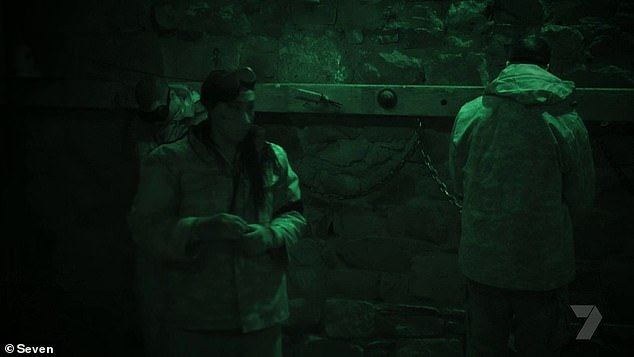Chained up: After freeing herself, Sabrina quietly snuck out of the escape room and left her fellow recruits behind