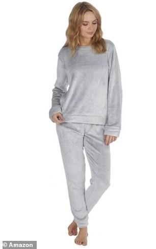 Style It Up Womens Fleece Loungewear in Ice Grey Two Tone