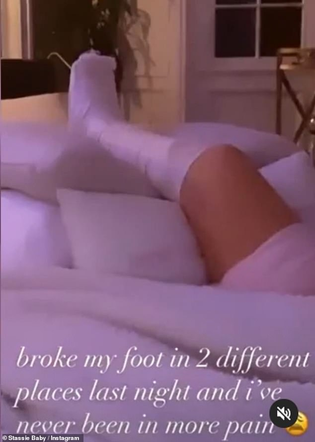 Injury: Spending time in bed with her leg elevated and in a cast, the best friend and confidante of Kylie Jenner detailed her mystery injury