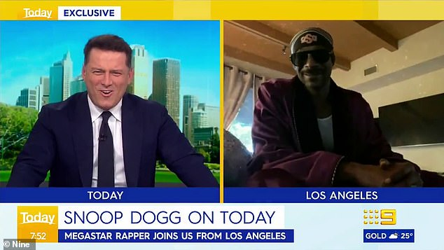 Drop it like it's hot! Karl Stefanovic couldn't contain his excitement as he enjoyed a brief and awkward rapping duet with Snoop Dogg on Tuesday's episode of the Today show
