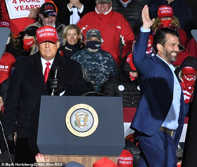 The President was joined at the last day of his campaign in Kenosha by Donald Jr and his girlfriend Kimberly Guilfoyle, Eric and Lara Trump, Tiffany, Ivanka and Jared Kushner