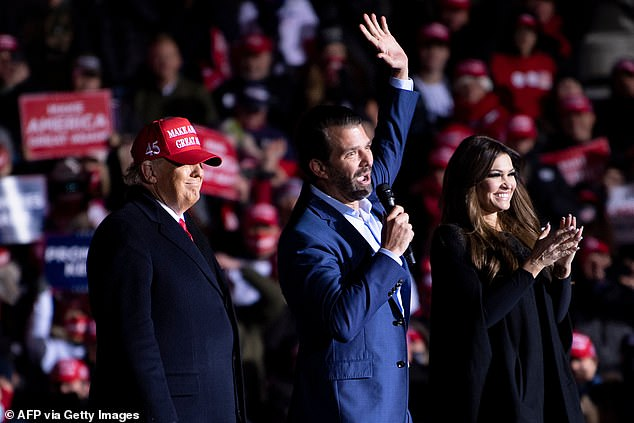 Donald Jr was invited to the stage by his father and made an impassioned speech in defense of his father and criticized rival Joe Biden