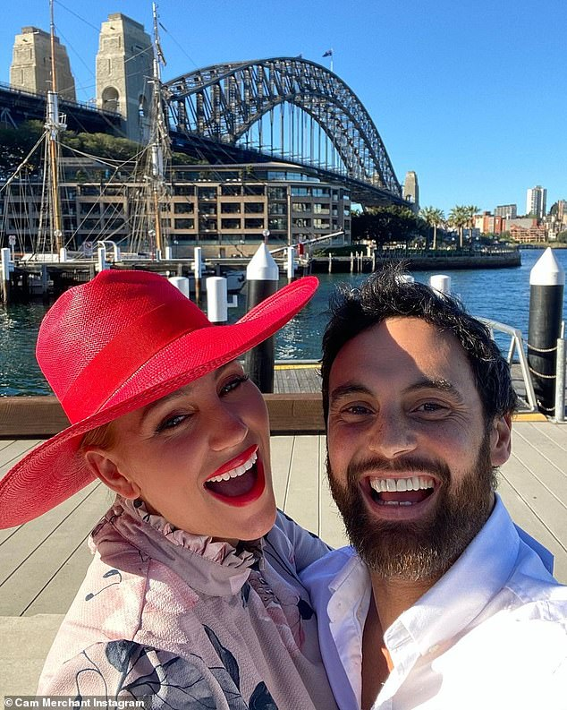 Party time:Jules, 37, and Cam, 36, shared a number of photos and videos to Instagram during Tuesday afternoon which they spent at Harbourfront Seafood Restaurant in Sydney