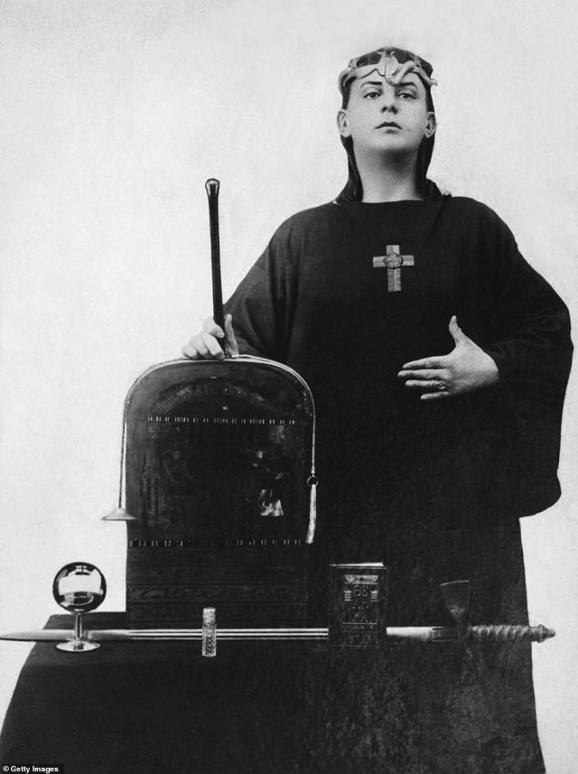 A portrait of occultist Aleister Crowley in ceremonial clothing in 1912. Crowley founded theOrder of Oriental Templars, a meeting of which Anya stumbled across