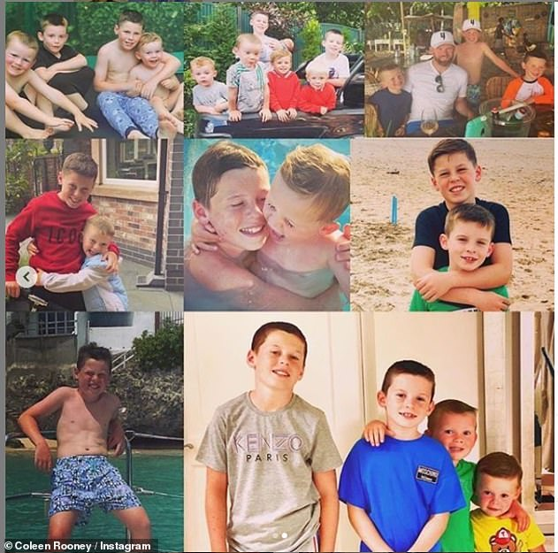 Sweet:On Tuesday, Coleen paid tribute to her eldest, sharing a photo montage of Kai and his brother Klay, seven, Kit, four, and Cass, two