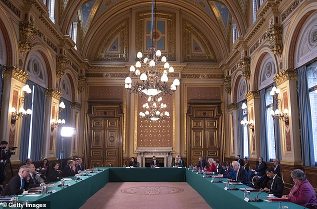 The weekly Cabinet meeting was held in the Foreign Office as there is more room to socially distance than in Downing Street