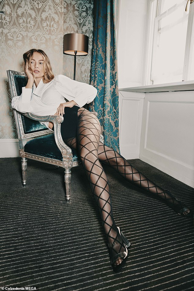 Leggy: Emma Louise Connolly has thrown herself into work since postponing her wedding as she starred in a new fashion campaign to promote Calzedonia's winter range