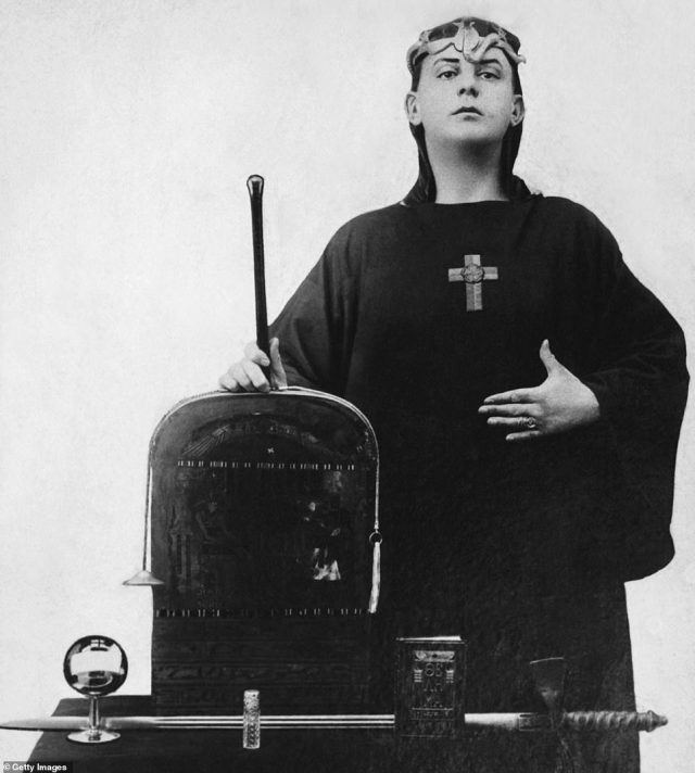 A portrait of the occultist Aleister Crowley in ceremonial clothing in 1912