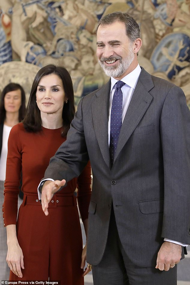 In 2014, King Juan swiftly abdicated in favour of his son Felipe, but Corinna believes she was still being targeted by the Spanish royals. Pictured, King Felipe of Spain with wife Queen Letizia