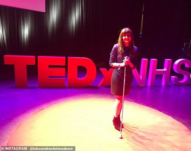 Despite raising over £27,000, fate has intervened and Alexandra has spent the last three months in hospita (Pictured last year during a TedX talk)