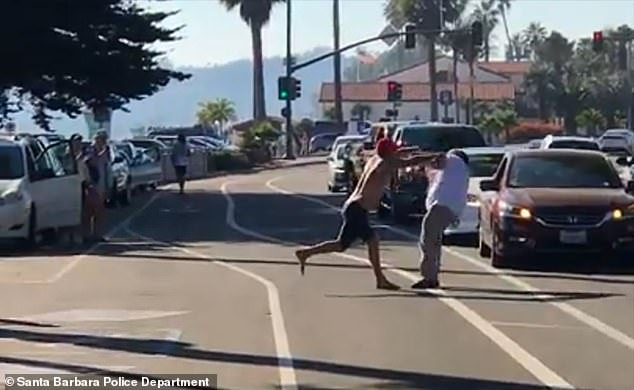 Shocking smartphone footage captured the altercation that took place at around 3:20 p.m. Saturday on the 1100 block of E. Cabrillo Boulevard. Pictured the suspect shoving the victim