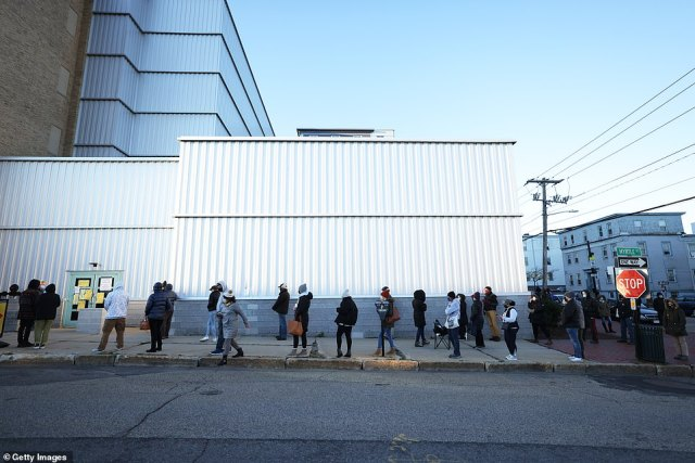 PORTLAND, MAINE:People wait in line to vote in Maine first thing Tuesday morning