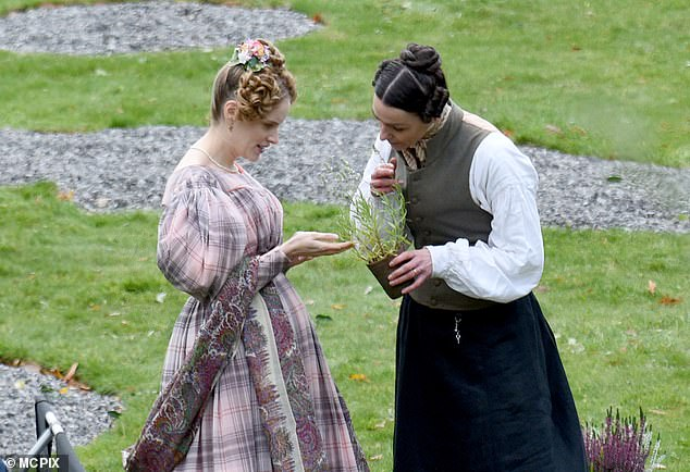Sweet:The pair, whose characters married in secret at the end of season one, were seen filming in a garden together, where Suranne seemed to talk to Sophie about plants