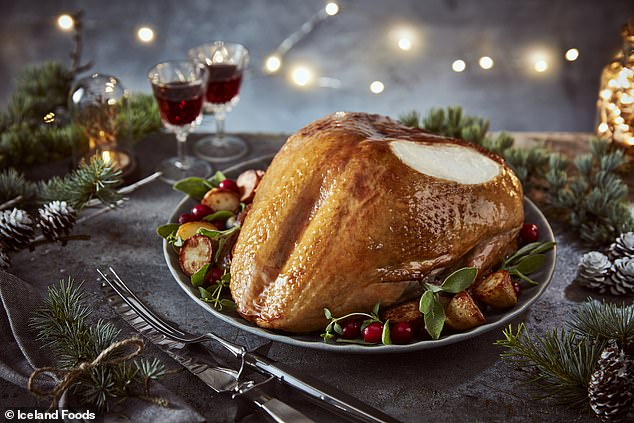Cautious shoppers have been buying up their Christmas dinners two months early, with Iceland, Waitrose and Marks & Spencer all reporting record sales of festive foods in the last week of October. Pictured: A turkey from Iceland
