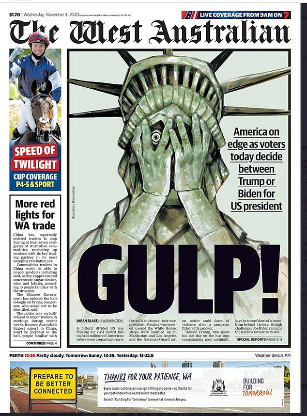The West Australian, November 4 2020: Australian newspaper editors had to push out front pages with no certain outcome given the time difference. This was The West Australian's