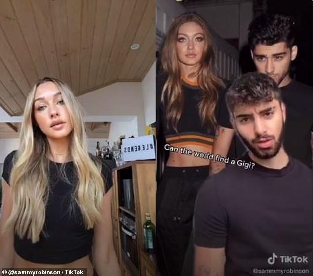 Twins: Sammy Robinson looks a bit like Gigi Hadid, while TikTokker @smurfgopoppop looks enough like the Zayn Malik that his TikTok bio says 'not Zayn'