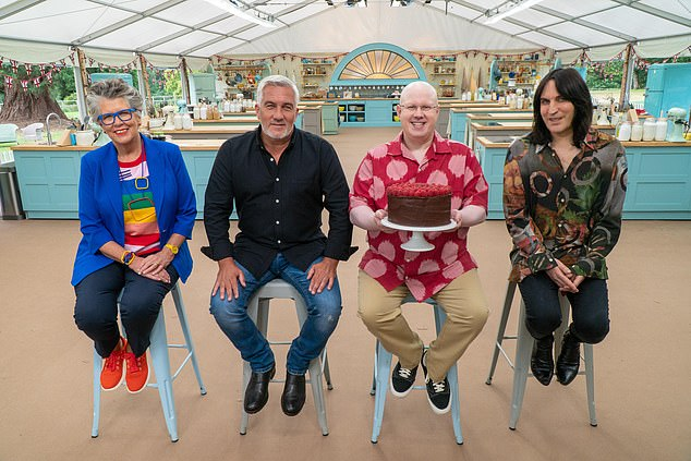 Bake Off:This week's episode sees the contestants battle 80s week to earn a place in the quarter finals (pictured, judges Paul and Prue Leith with Matt Lucas and Noel Fielding)