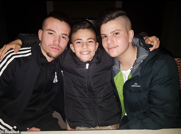 Leigh (right) suffered a concussion, extensive bruising throughout his pelvis and hips. Jayden (left was in the front seat at the time of the crash and hit the dashboard and Seth (middle) broke his arm in three places