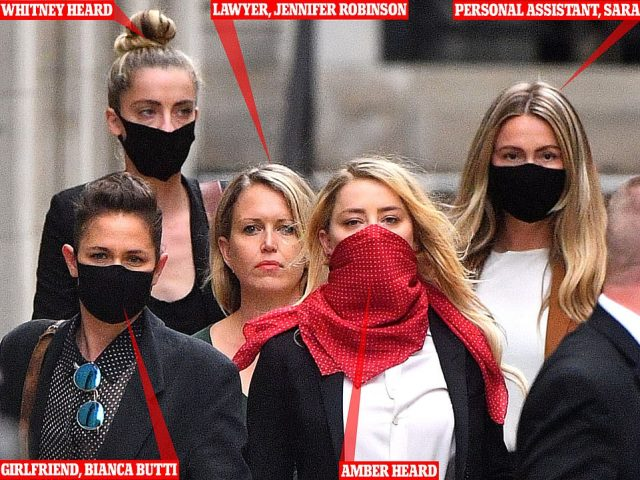 Amber and her squad: Amber Heard left during the trial with her girlfriend Bianca Butti, left, her sister Whitney Heard, next to her partner, her lawyer in the green dress and her personal assistant Sara, seen far right