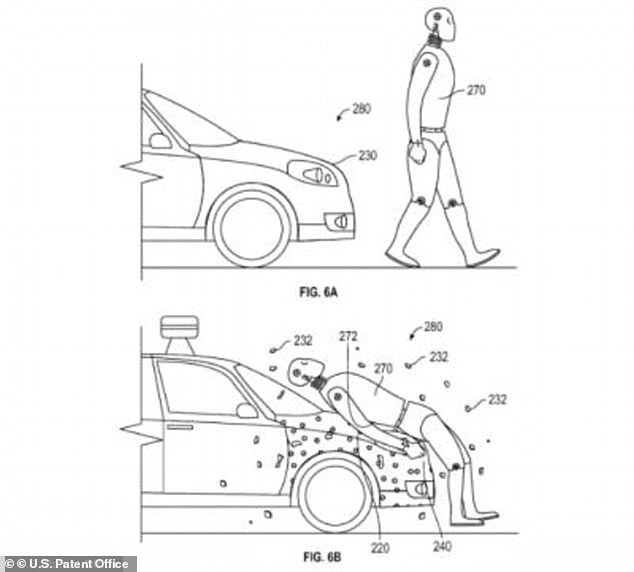 Google in 2016 submitted drawings for an adhesive bonnet panel. It was designed to protect pedestrians if they were hit by the firm's autonomous vehicles but not flinging them into the road