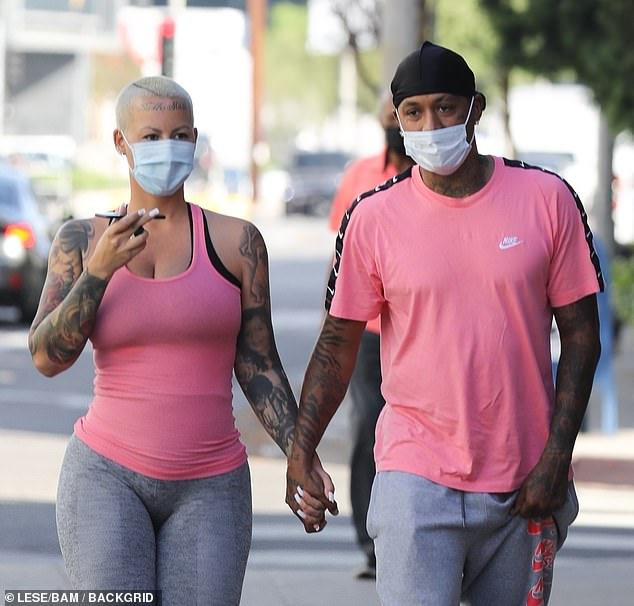 Mandatory in CA: The Philadelphia-born 37-year-old and the Oakland-born 34-year-old made sure to protect themselves and others from the coronavirus by wearing surgical face masks