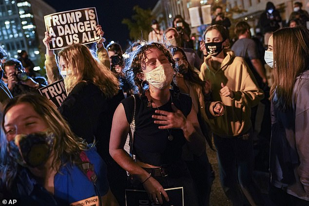 Demonstrators react at Black Lives Matter Plaza outside the White House as they watch election returns