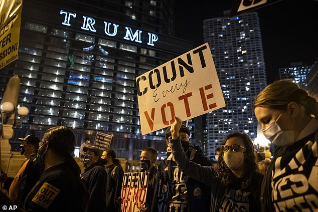 Protesters march through the Loop in Chicago to demand every vote be counted in the general election, Wednesday night