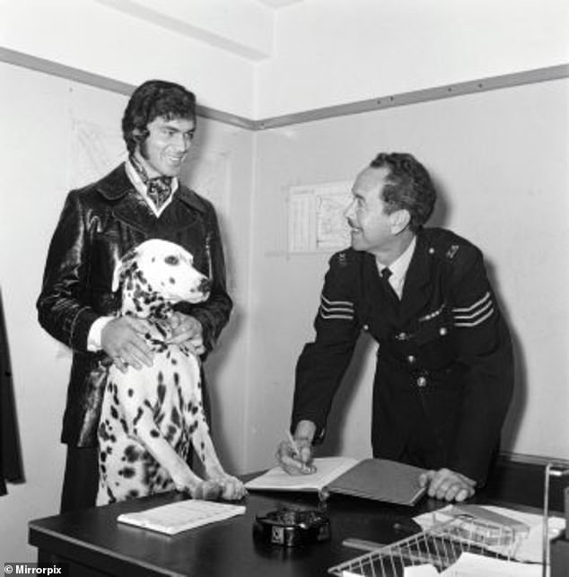 1969: Cheb, my Dalmatian, was forever wandering off from our home in St George's Hill in Surrey and getting into trouble. Here I am collecting him yet again from the local police station. John Lennon was my neighbour and Cheb would steal bread from his doorstep. John used to say, 'Tell that Humperdinck to keep his bloody dog away from me'