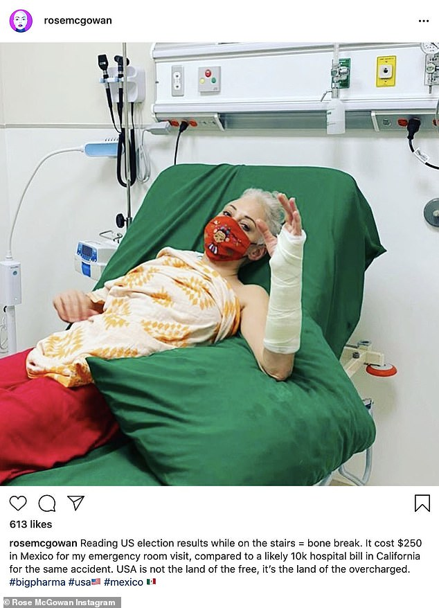Ouch: Her outing comes almost three weeks after she revealed that she had broken her wrist, sharing a snap of her injury two days after the US presidential election
