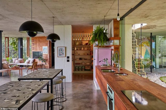 To this day, the house still has no need for air conditioning or heating - which is a feat given its tropical setting, and it has an indoor outdoor flow with minimal walls and columns so you can enjoy the view from all angles (interior pictured)