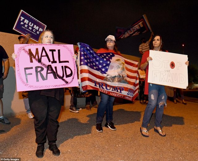 Trump's team continues to cry fraud, claiming that they have 'evidence' that 'tens of thousands of votes' had been cast there fraudulently. Trump supporters are seen demonstrating in Las Vegas on Thursday