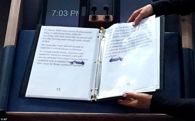 One page of Trump's notebook contained talking points on Georgia (left), which he is now poised to lose, and the other appeared to contain unsubstantiated claims of illegal voting (right)