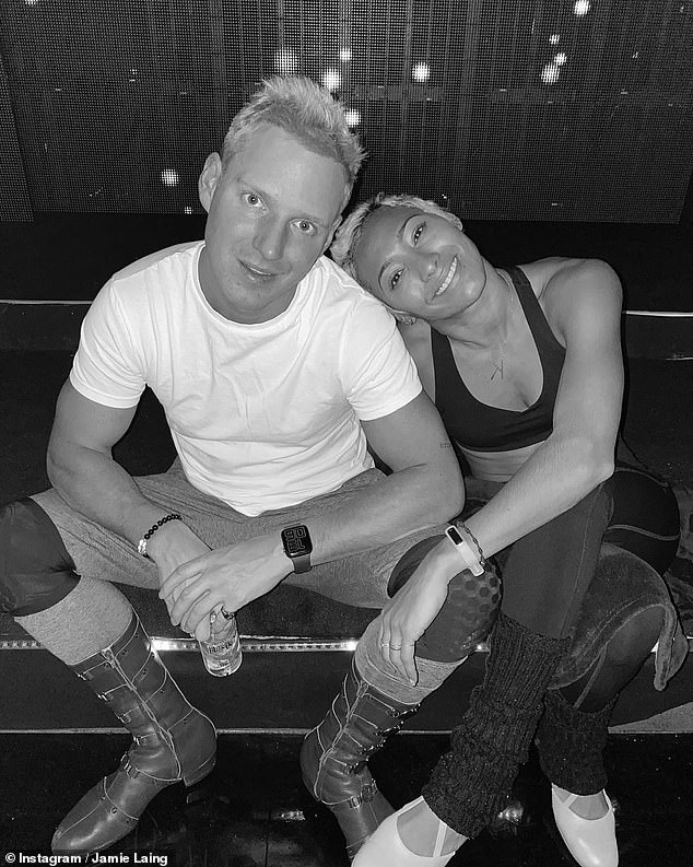 Getting ready: Jamie Laing and Karen Hauer appeared to be in good spirits as they rehearsed the Charleston for movies week on Strictly Come Dancing on Friday