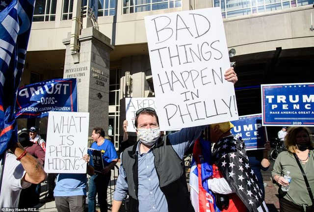 PHILADELPHIA: Trump supporters gather outside of the Pennsylvania Convention Center on Friday afternoon to protest after the president made unsubstantiated claims of fraud in the tallying of the votes in the state