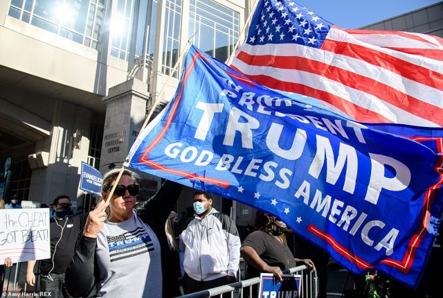 PHILADELPHIA: Trump fans also gathered outside the Philadelphia Convention Center to protest on Friday
