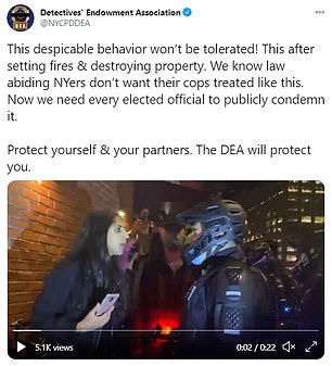 Footage of her spitting at the officer, which went viral on Twitter, was immediately condemned by the NYPD and police unions