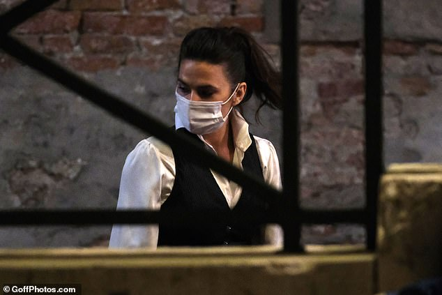 Stylish: Meanwhile Hayley opted for a black waistcoat and a white shirt as she headed to the set