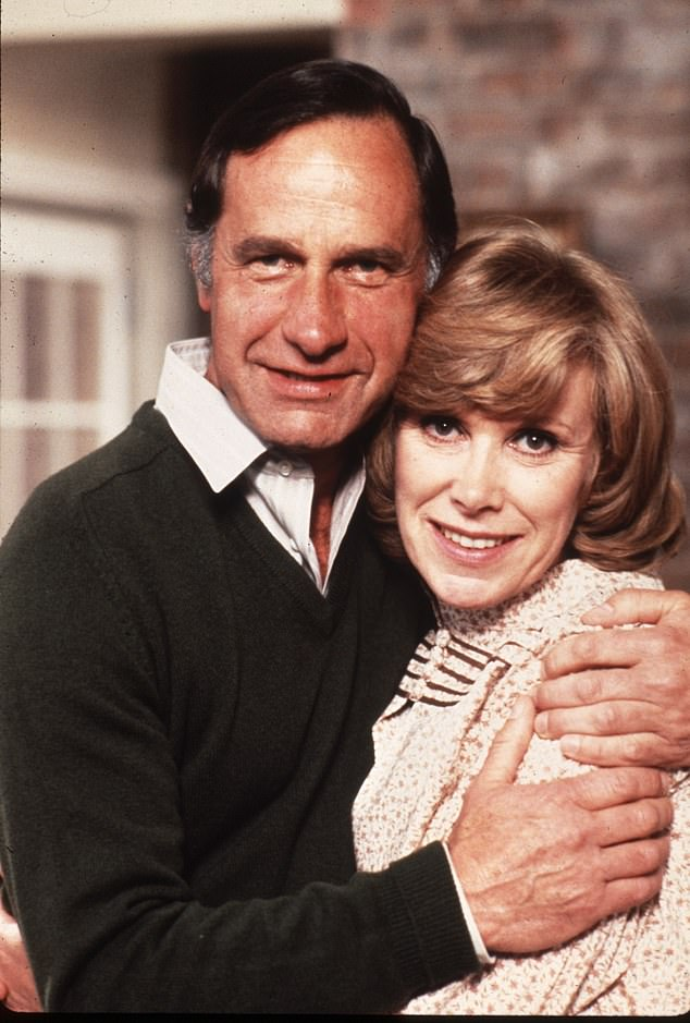 Geoffrey Palmer, pictured on the set of Butterflies with Wendy Craig
