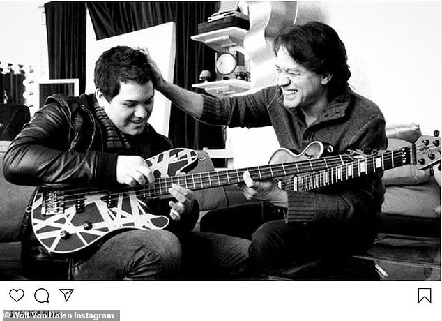 So sweet: It was the third such black-and-white, captionless image that Wolf, now 29, posted since his father's passing, showing the pair at various stations in life ¿ rehearsing together, and also performing on stage together