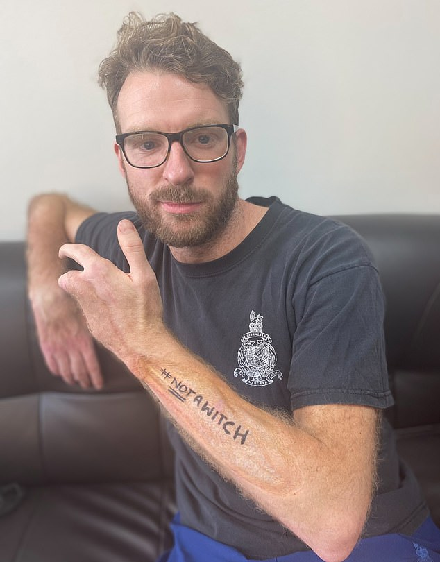 #NotAWitch: He posted a photo of himself, which featured the hashtag 'NotAWitch' written across his arm, alongside a photo of Anne Hathaway who plays the Grand High Witch in the film