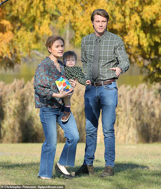 Working life:Garrett Hedlund cleaned up nicely for a day of shooting with co-star Anna Paquin, 38, on setof Amazon Prime's rom-com anthology series Modern Love in New York on Friday afternoon