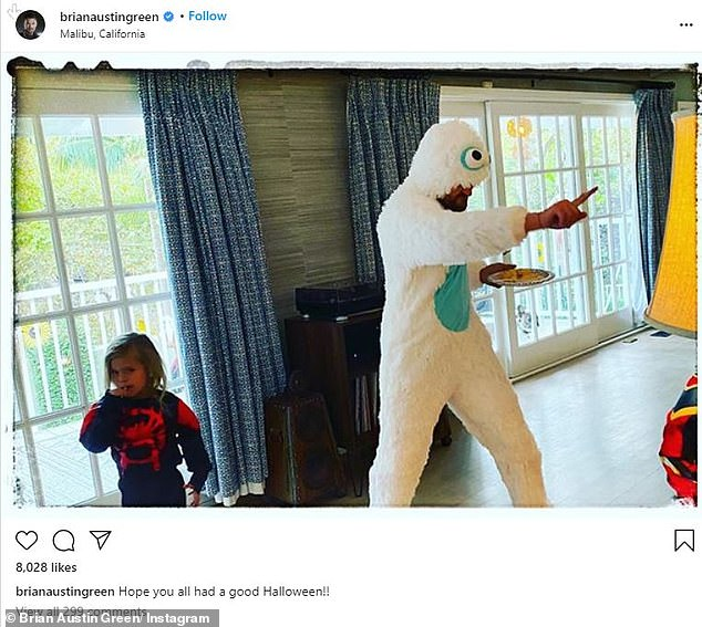 Trick or treat: She commented on a photo of the Beverly Hills 90210 alum dancing in a yeti costume, as Journey walked by as Spider-Man
