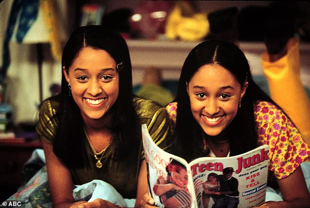 Breakthrough: Tia and Tamera became household faces and names during their six season run on Sister Sister from 1994-1999; the twins are pictured on the set of the hit sitcom