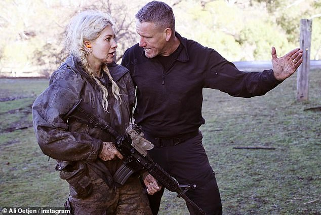 Tough love: Ali said that being pushed, broken and lifted by the DS (directing staff) 'created growth' for her. She wrote that she thought they would be 'heartless, angry soldiers,' but discovered that 'how much heart they have'. Ali is pictured withMark Billingham